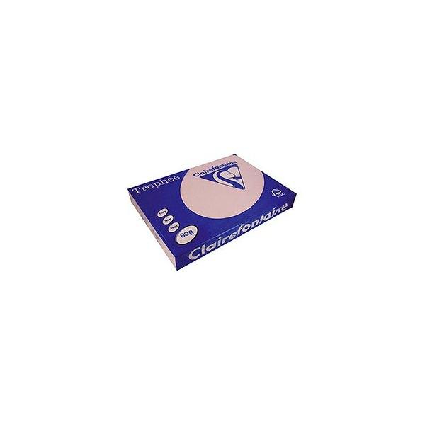 CLAIREFONTAINE Ramette de 500 feuilles papier couleur TROPHEE 80g A3 rose pastel