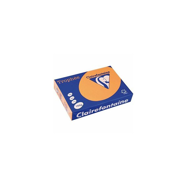 CLAIREFONTAINE Ramette de 500 feuilles papier couleur TROPHEE 80g A4 clémentine