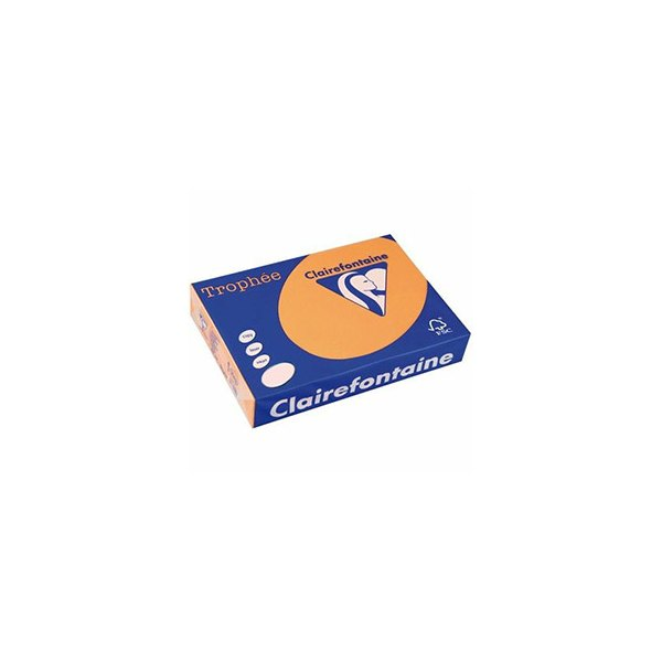 CLAIREFONTAINE Ramette de 500 feuilles papier couleur TROPHEE 80g A3 clémentine