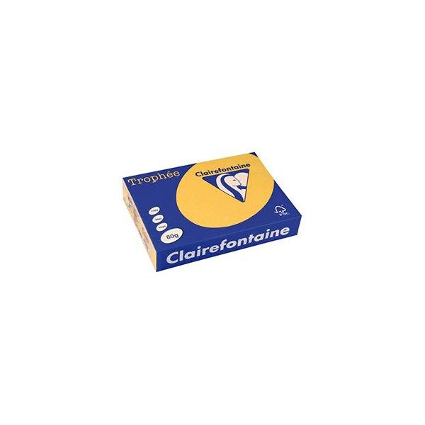 CLAIREFONTAINE Ramette de 500 feuilles papier couleur TROPHEE 80g A4 bouton d'or