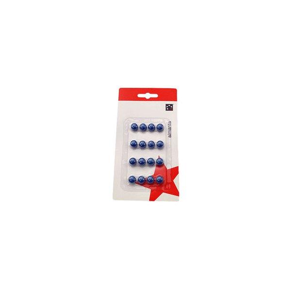 5 ETOILES Boîte de 16 aimants 9 mm ronds bleu (photo)