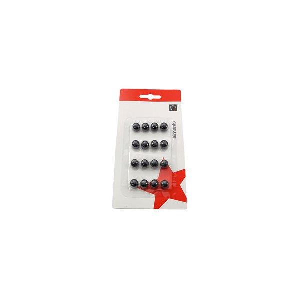 5 ETOILES Boîte de 16 aimants 9 mm ronds noir (photo)