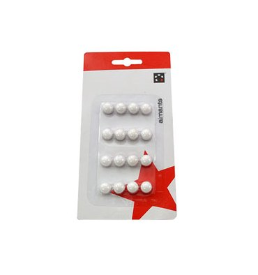 5 ETOILES Boîte de 16 aimants 9 mm ronds blanc