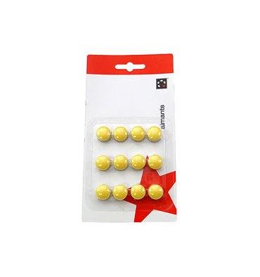 5 ETOILES Boîte de 12 aimants 15 mm ronds jaune