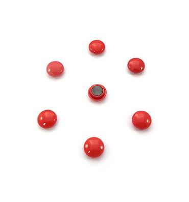 5 ETOILES Boîte de 7 aimants 20 mm ronds rouge