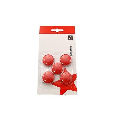 5 ETOILES Boîte de 5 aimants 27 mm ronds rouge
