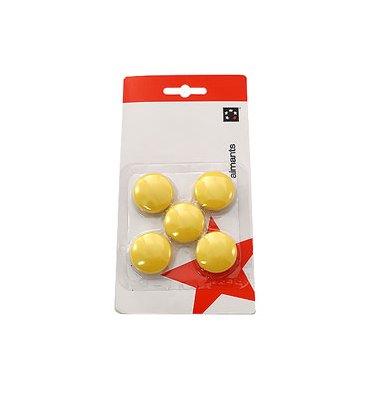 5 ETOILES Boîte de 5 aimants 27 mm ronds jaune