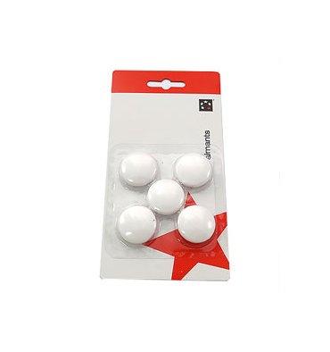 5 ETOILES Boîte de 5 aimants 27 mm ronds blanc