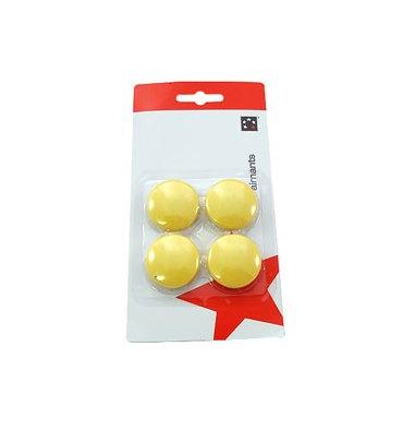5 ETOILES Boîte de 4 aimants 32 mm ronds jaune