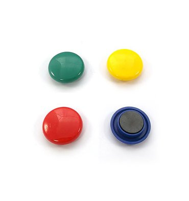 5 ETOILES Boîte de 4 aimants 30 mm ronds assortis