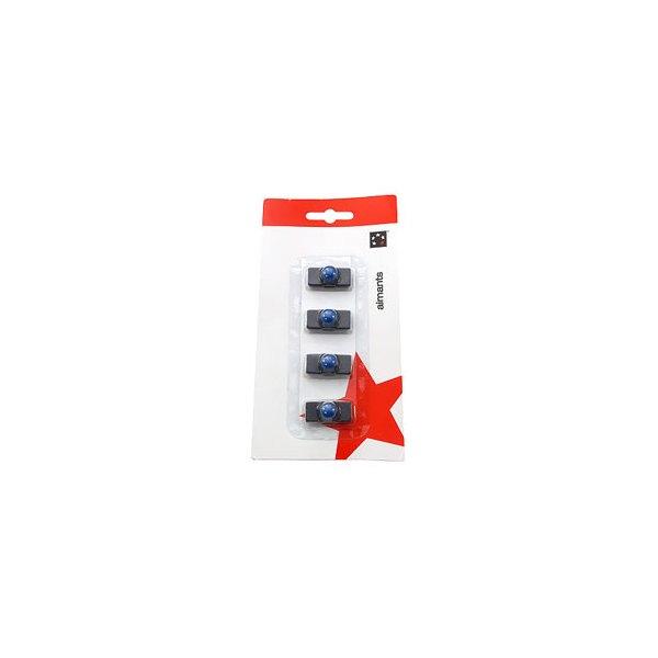 5 ETOILES Plaquette de 4 aimants rectangulaires noir à téton bleu 1,1 x 2,7 cm