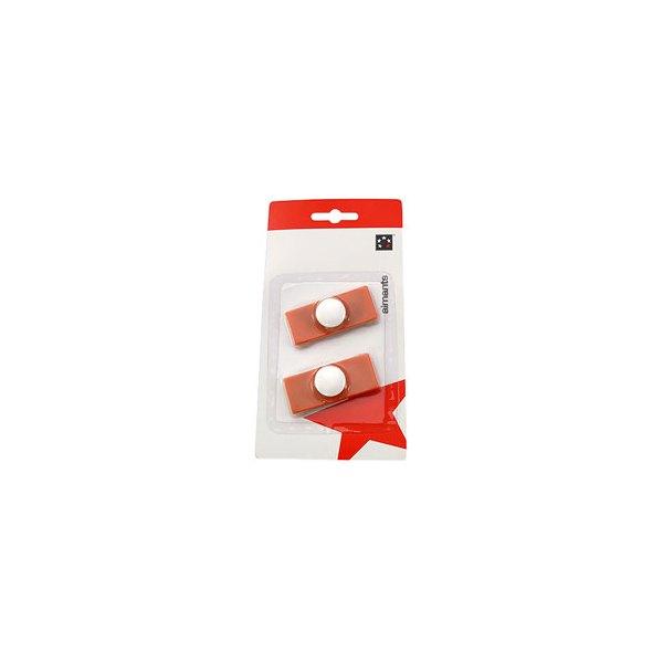 5 ETOILES Plaquette de 2 aimants rectangulaires à téton 2,3 x 5,5 cm orange