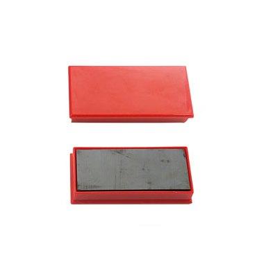 5 ETOILES Plaquette de 2 aimants rectangulaires à téton 2,3 x 5,5 cm rouge