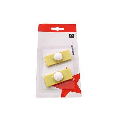 5 ETOILES Plaquette de 2 aimants rectangulaires à téton 2,3 x 5,5 cm jaune