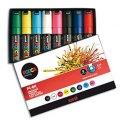 UNIBALL Pochette 8 marqueurs peinture à base d'eau, couleurs assorties, pointe large UNI POSCA PC8K