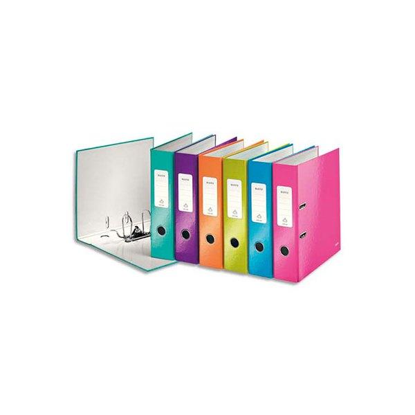 LEITZ Classeur à levier 180° WOW en carton pelliculé, dos 8 cm, coloris assortis
