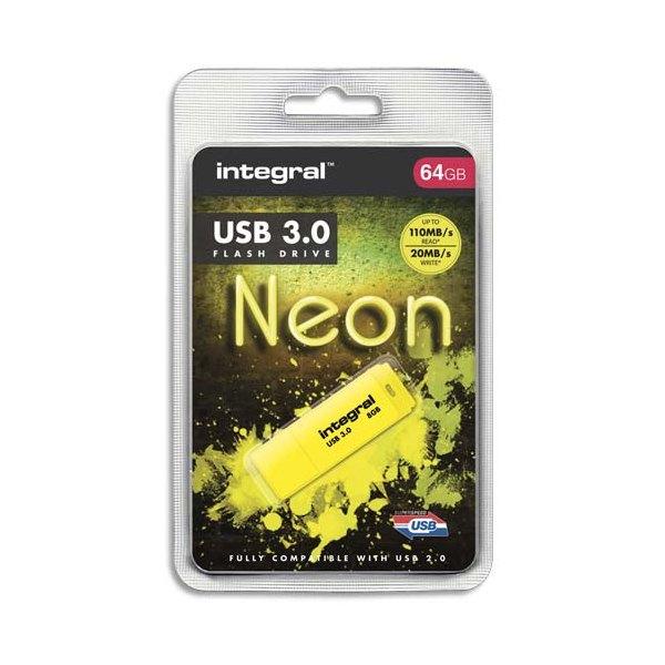 INTEGRAL Clé USB 3.0 Neon 64Go Jaune INFD64GoNEONYL3.0 + redevance