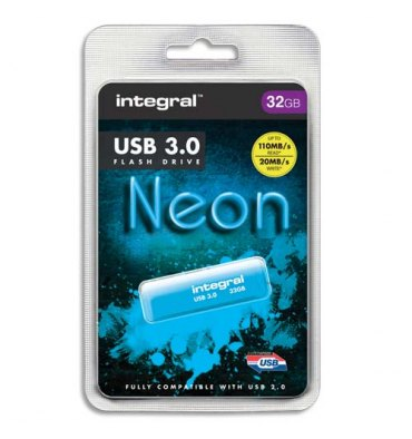 INTEGRAL Clé USB 3.0 Neon 32Go Bleue INFD32GBNEONB3.0 + redevance