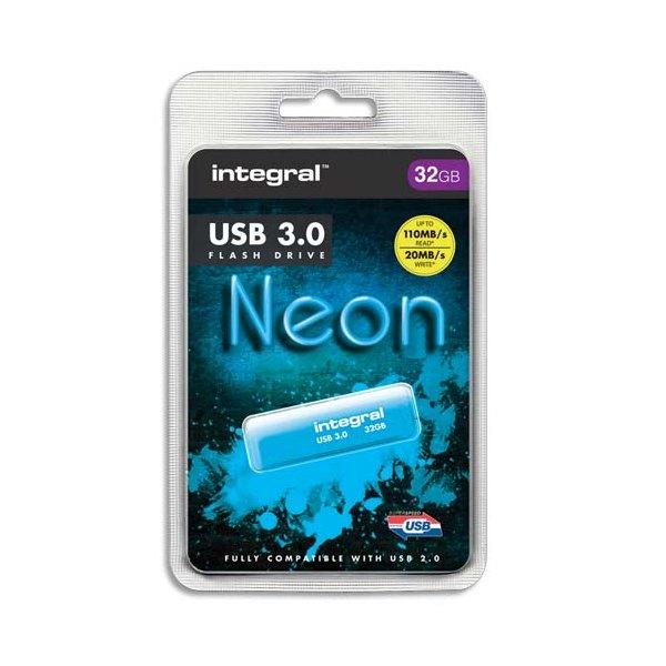 INTEGRAL Clé USB 3.0 Neon 32Go Bleue INFD32GBNEONB3.0 + redevance
