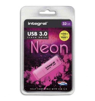 INTEGRAL Clé USB 3.0 Neon 32Go Rose INFD32GoNEONPK3.0 + redevance