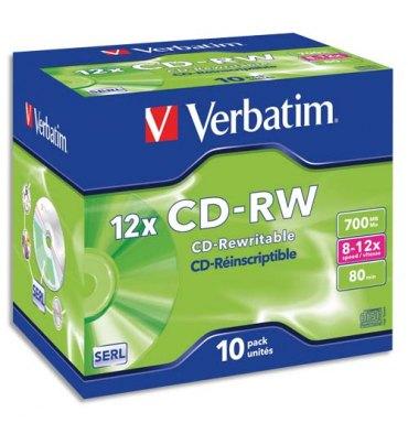 VERBATIM Boîte de 10 CD-RW 80 min. high speed