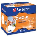 VERBATIM Pack de 10 boîtiers cristal DVD-R imprimables 4,7Go 16x 43521 + redevance