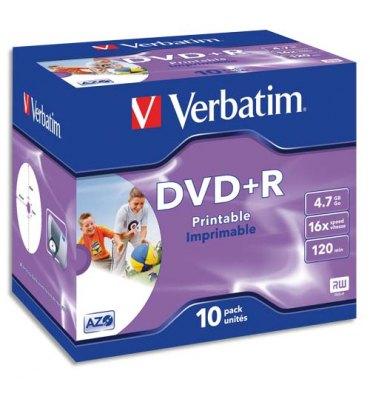 VERBATIM Pack de 10 DVD+R imprimable 4.7Go 16x 043508 + redevance