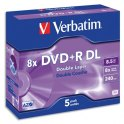 VERBATIM Pack de 5 DVD+R Dual Layer double couche / boîtier cristal 8,5GB 8x + redevance 43541