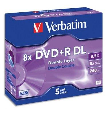 VERBATIM Pack de 5 DVD+R Dual Layer double couche / boîtier cristal 8,5GB 8x + redevance 43541