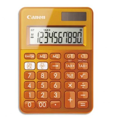 CANON Mini Calculatrice de poche à 10 chiffres LS-100K, coloris orange