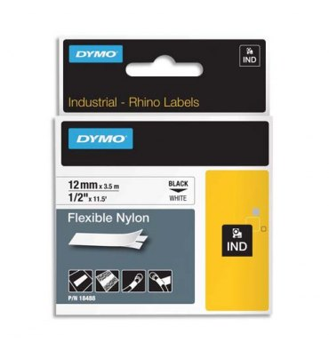 DYMO Ruban Rhino flexible nylon Noir / Blanc 12 mm x 3,5 m - 18488