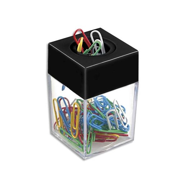 JPC Distributeur magnétique de trombones fourni avec 50 trombones coloris assortis