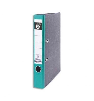5 ETOILES Classeur à levier en carton. Dos 5 cm. Format A4. Coloris marbré dos vert