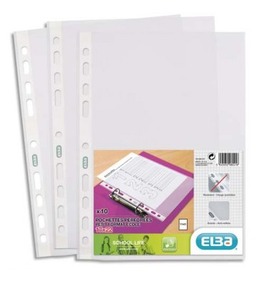 ELBA Sachet de 10 pochettes perforées en polypropylène lisse 6/100e. Format 17 x 22 cm, 11 trous