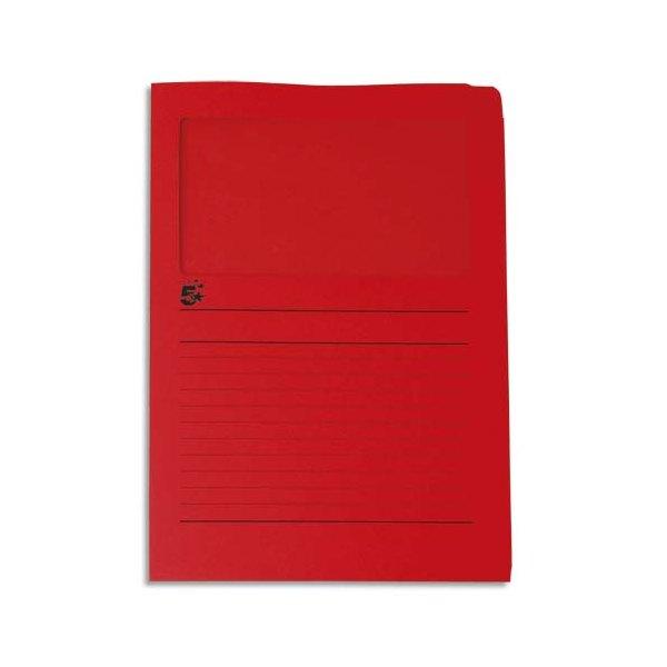 5 ETOILES Paquet de 50 pochettes-coin 22 x 31 cm en carte 120g avec fenêtre, coloris rouge