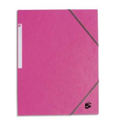 5 ETOILES Chemise 3 rabats monobloc à élastique en carte rose clair