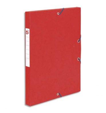 5 ETOILES Boîte de classement à élastique en carte lustrée 7/10, 600g. Dos 25 mm. Coloris rouge