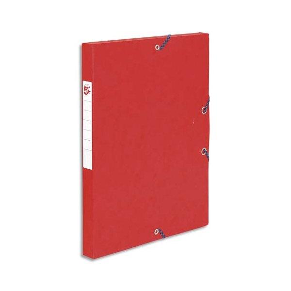 5 ETOILES Boîte de classement à élastique en carte lustrée 7/10e, 600g. Dos 25 mm. Coloris rouge (photo)