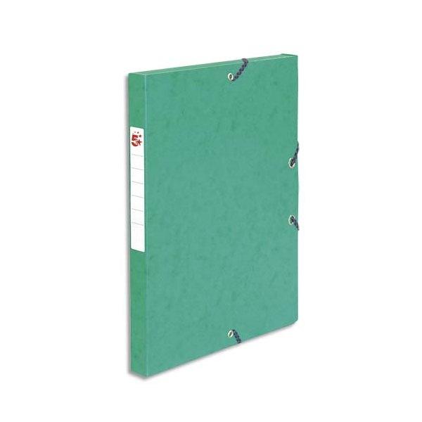 5 ETOILES Boîte de classement à élastique en carte lustrée 7/10, 600g. Dos 25 mm. Coloris vert (photo)