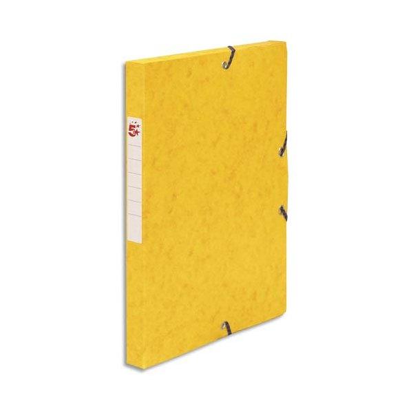 5 ETOILES Boîte de classement à élastique en carte lustrée 7/10, 600g. Dos 25 mm. Coloris jaune (photo)