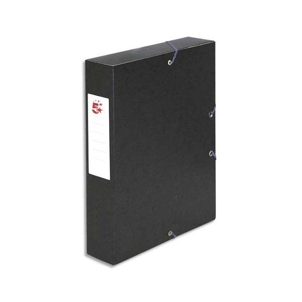 5 ETOILES Boîte de classement à élastique en carte lustrée 7/10e, 600g. Dos 60 mm. Coloris noir (photo)