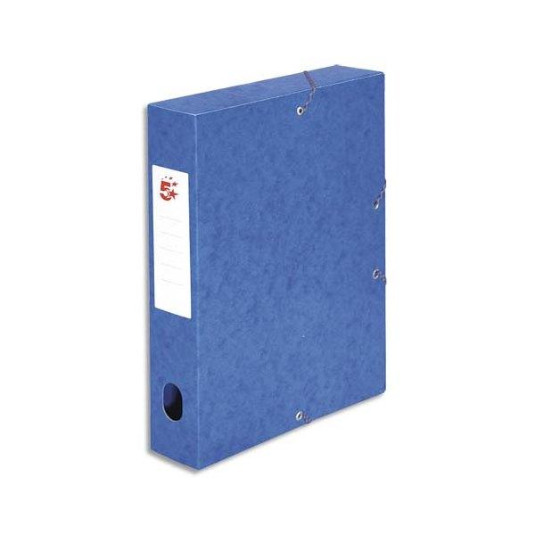 5 ETOILES Boîte de classement à élastique en carte lustrée 7/10e, 600g. Dos 60 mm. Coloris bleu (photo)