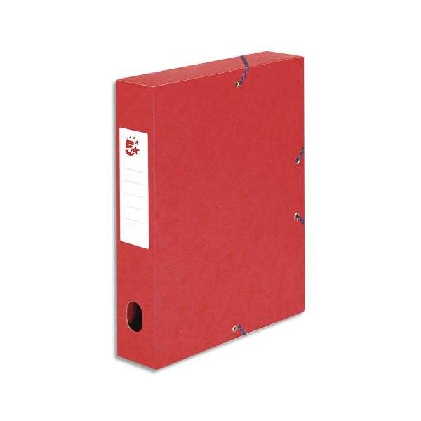 5 ETOILES Boîte de classement à élastique en carte lustrée 7/10, 600g. Dos 60 mm. Coloris rouge (photo)
