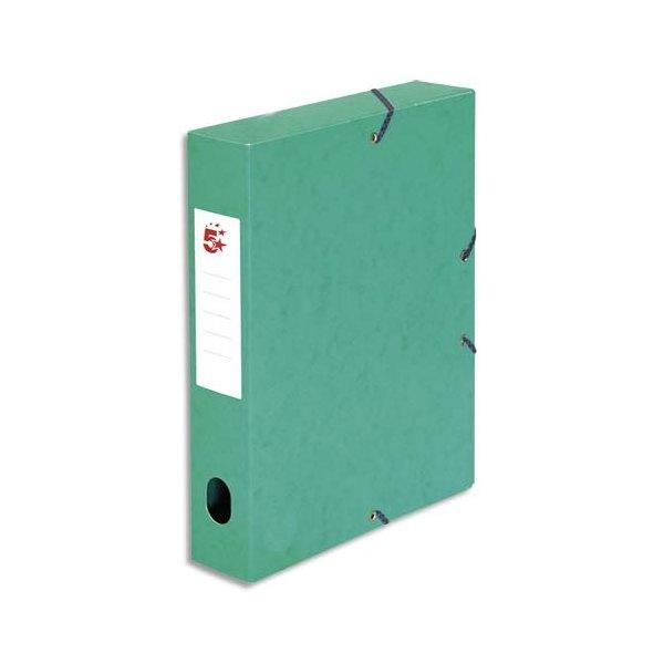 5 ETOILES Boîte de classement à élastique en carte lustrée 7/10e, 600g. Dos 60 mm. Coloris vert (photo)