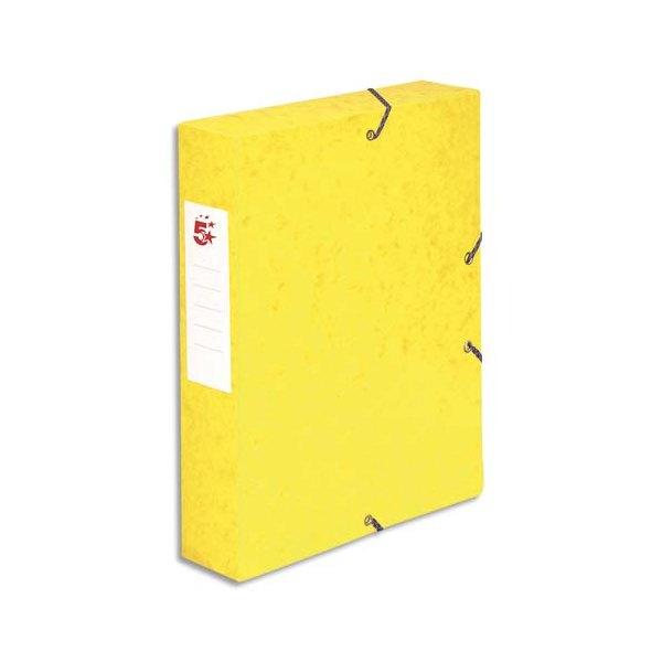 5 ETOILES Boîte de classement à élastique en carte lustrée 7/10, 600g. Dos 60 mm. Coloris jaune (photo)