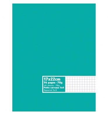 NEUTRE Cahier piqûre 96 pages 70g 5x5 17 x 22 cm couverture carte assortie