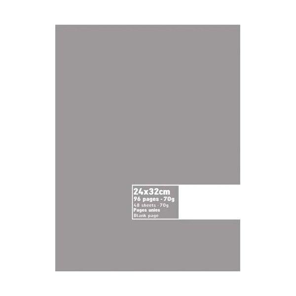 NEUTRE Cahier piqûre 96 pages 70g unies blanches 24 x 32 cm Couverture carte assortis