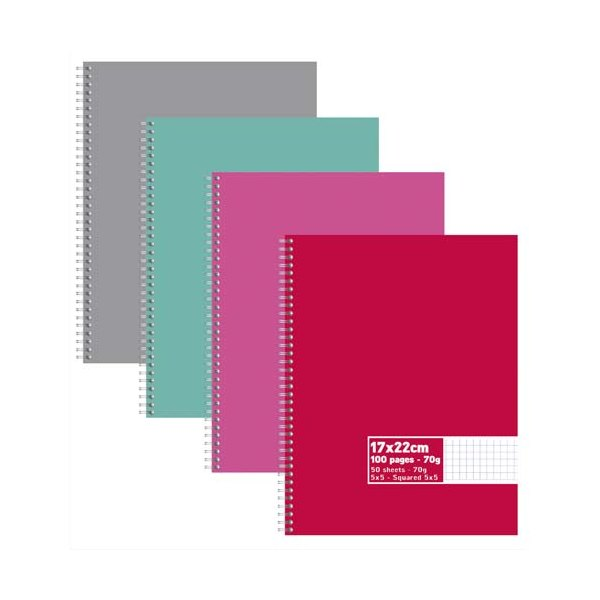 NEUTRE Cahier reliure intégrale 100 pages 70g 5x5 17 x 22 cm. Couverture carte assortis