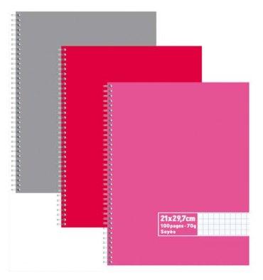 NEUTRE Cahier reliure intégrale 100 pages 70g Seyès 21 x 29,7 cm Couverture carte assortis
