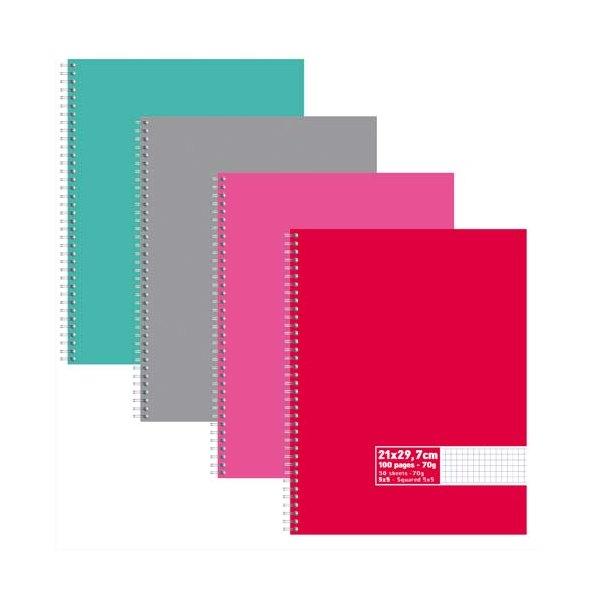 NEUTRE Cahier reliure intégrale 100 pages 70g 5x5 21 x 29,7 cm Couverture carte assortis